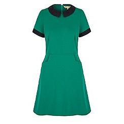 Yumi - Green polka dot collar day dress