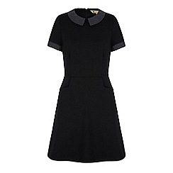 Yumi - Black polka dot collar day dress