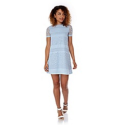 Yumi - Blue Paper Lace Shift Dress