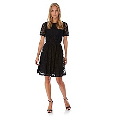 Yumi - Black Stretchy Lace Skater Dress