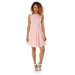 Yumi - Pink Lace Skater Dress