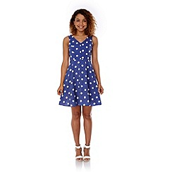 Yumi - Blue Polka Dot Print Day Dress