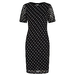 Yumi - Black polka dot lace bodycon dress