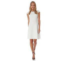 Yumi - Cream Textured Ponte Party Dress