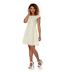 Yumi - Yellow Floral Organza Skater Dress
