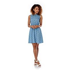 Yumi - Blue Polka Dot Print Denim Shirt Dress