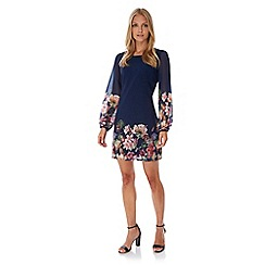Yumi - Blue Botanical Floral Print Tunic Dress