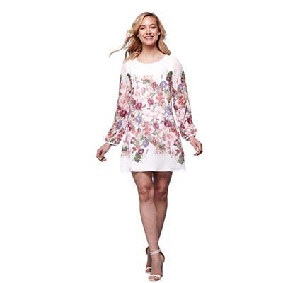 Yumi Ivory Summer Flower Print Tunic Dress