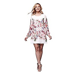 Yumi - Ivory Summer Flower Print Tunic Dress