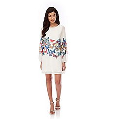 Yumi - Ivory Butterfly Print Tunic Dress