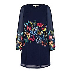 Yumi - Blue Butterfly Print Tunic Dress