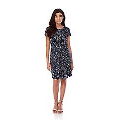 Yumi - Blue polka dot gathered day dress