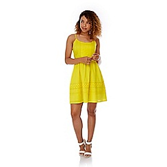 Yumi - Yellow Cotton Crochet Summer Dress