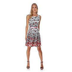 Yumi - Cream Stripe Floral Print Skater Dress