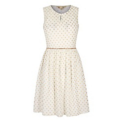 Yumi - Cream Gold Polka Dot Print Day Dress