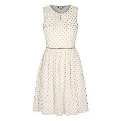 Yumi - Cream Gold Polka Dot Print Day Dress