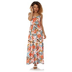 Yumi - Multicoloured  70s Floral Print Maxi Dress