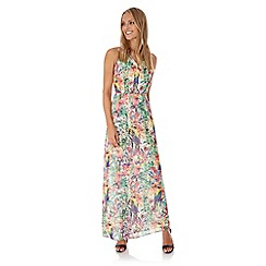 Yumi - Multicoloured  Tropical Parrot Print Maxi Dress