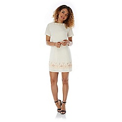 Yumi - Cream Embellished Shift Dress