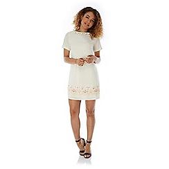 Yumi - Cream Embellished Shift Dress