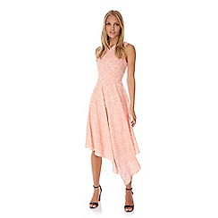 Yumi - Pink Lace Print Asymmetric Dress