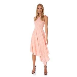 Yumi Pink Lace Print Asymmetric Dress