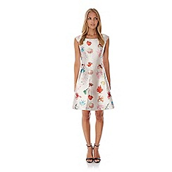 Yumi - Cream Coral Reef Print Party Dress