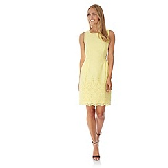Yumi - Yellow Embroidered Hem Cotton Dress