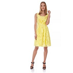 Yumi - Yellow Floral Jacquard Party Dress