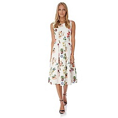 Yumi - Cream Botanical Floral Print Party Dress