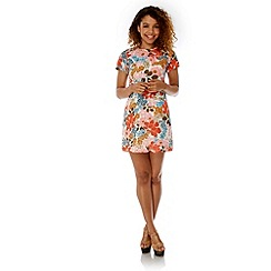 Yumi - Multicoloured  70s Floral Print Shift Dress