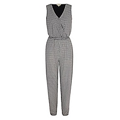 Yumi - Cream boat print wrap jumpsuit