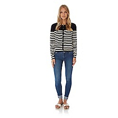 Yumi - Black stripe print heart pointelle cardigan