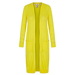 Yumi - Yellow Long Pointelle Cardigan