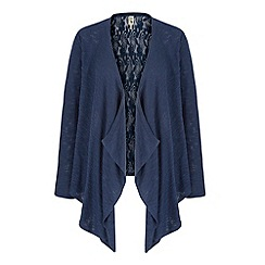 Yumi - Blue Lace Back Waterfall Cardigan