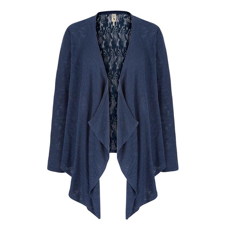 Yumi Blue Lace Back Waterfall Cardigan