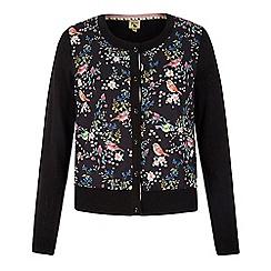 Yumi - Black bird floral print cardigan