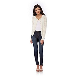 Yumi - Cream Long Sleeve Pointelle Cardigan