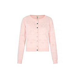 Yumi - Pink Long Sleeve Pointelle Cardigan