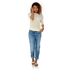Yumi - Cream Lace Insert Jumper