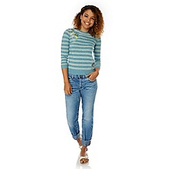 Yumi - Blue Embroidered Stripe Print Jumper