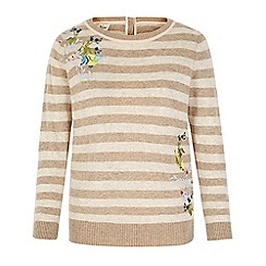 Yumi - Cream embroidered stripe print jumper