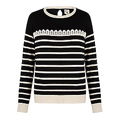 Yumi - Black lace stripe jumper