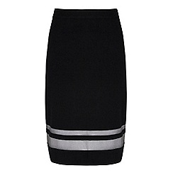 Yumi - Black sheer stripe pencil skirt