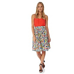 Yumi - Multicoloured  Village Print Pleated Midi Skirt