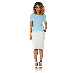 Yumi - Cream Lace Pencil Skirt