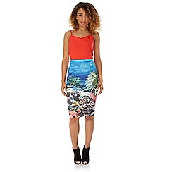 Yumi - Multicoloured  Underwater Print Pencil Skirt