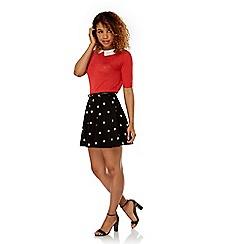 Yumi - Black boat print skater skirt