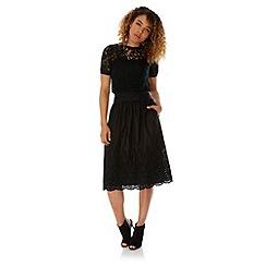 Yumi - Black Broderie Anglaise Midi Skirt