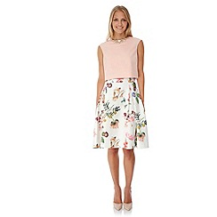 Yumi - Cream Botanical Floral Print Skater Skirt